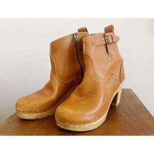 No. 6 Clog Ankle Boots Caramel 35